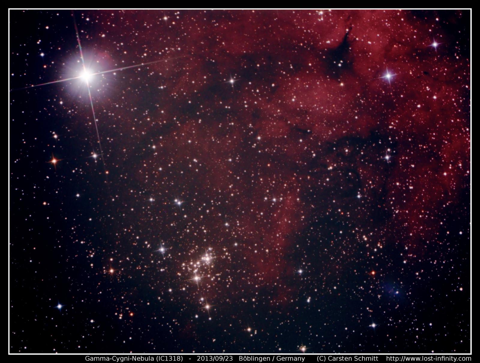 astrophotography gamma cygni nebula ic1318 lost infinity. Black Bedroom Furniture Sets. Home Design Ideas