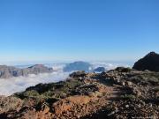 La Palma Caldera from Roque de Los Muchachos covered with clouds
