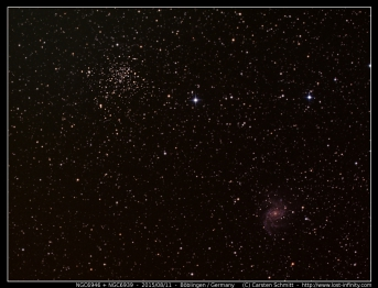 Fireworks galaxy (NGC6946) and Open Cluster NGC6939 - 2015/08/11