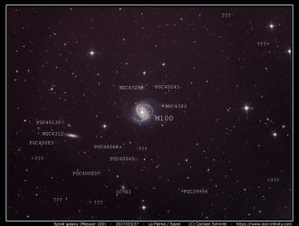Spiral galaxy M100 annotated - 2017/03/27