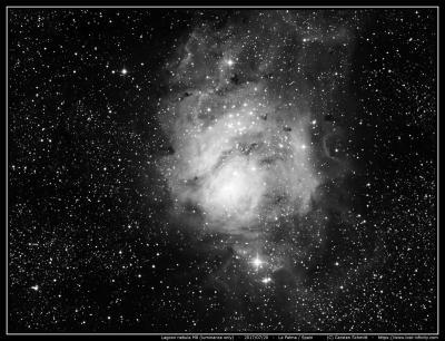 Lagoon nebula (M8) - Luminance only - 2017/07/20