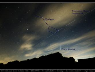 Comet Neowise & Inernational Space Station (ISS) in front of Big Dipper - 2020/07/20